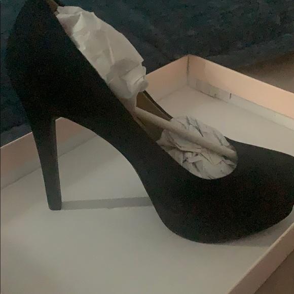 Black micro suede platform heel